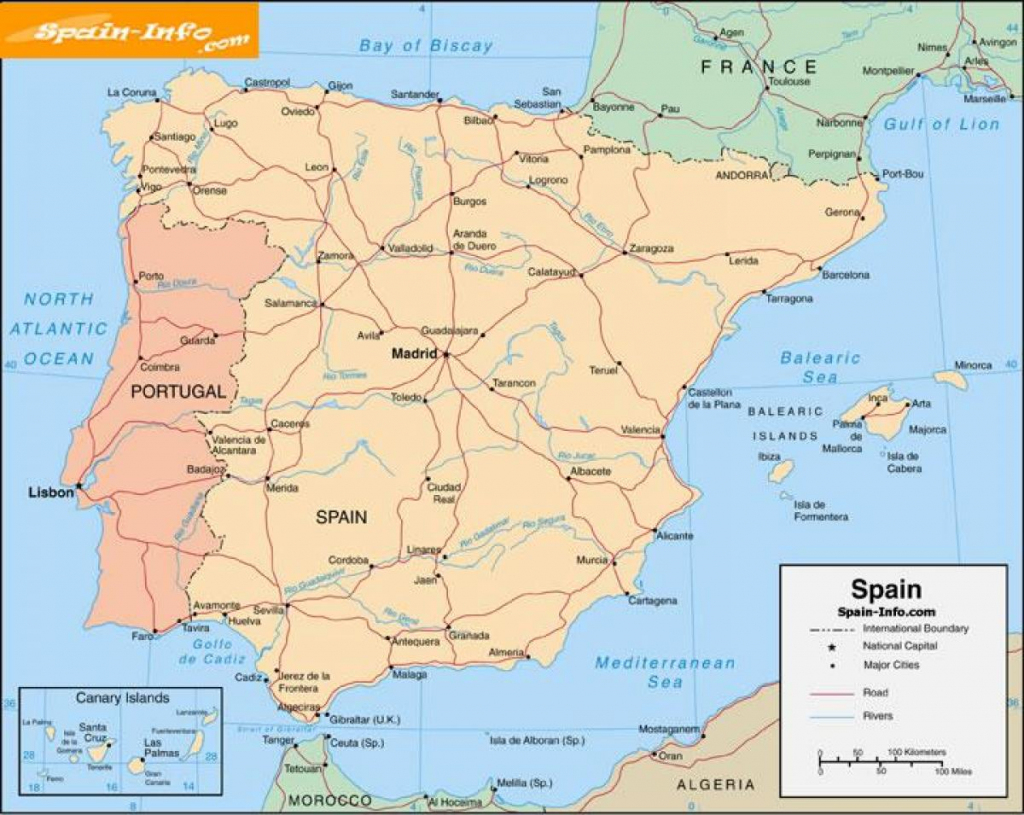 Free Printable Map Of Spain - Printable Map Of Spain With Cities within Printable Map Of Spain
