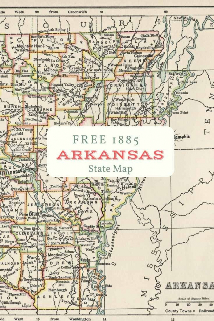 Free Printable Old Map Of Arkansas From 1885. #map #usa | Maps And within Printable Map Of Arkansas
