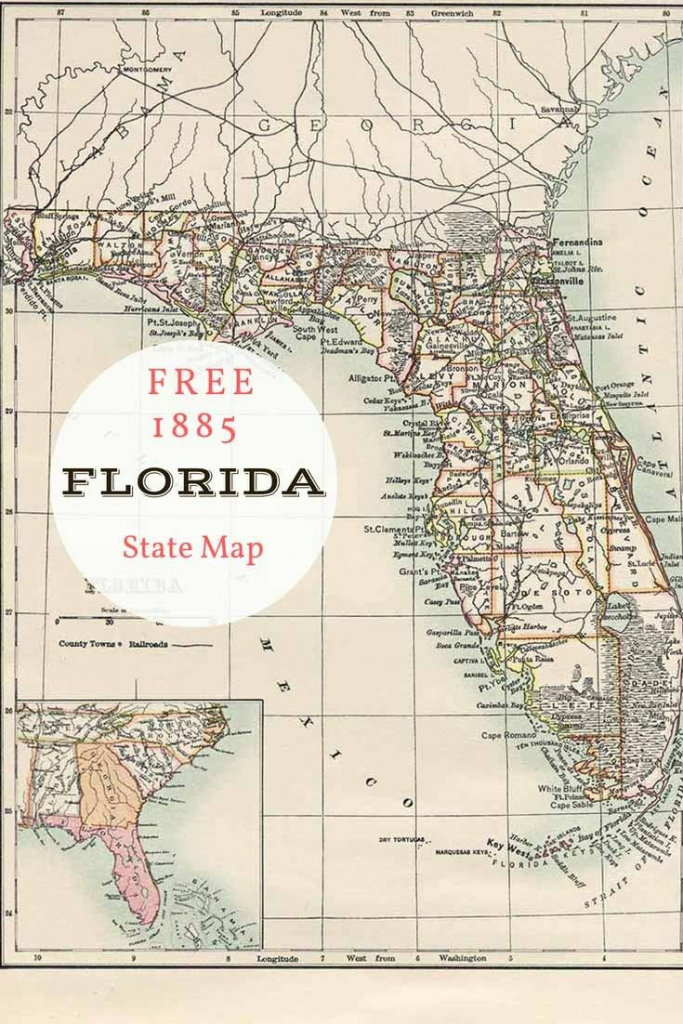 Free Printable Old Map Of Florida From 1885. #map #usa   Maps And with regard to Free Printable Map Of Florida