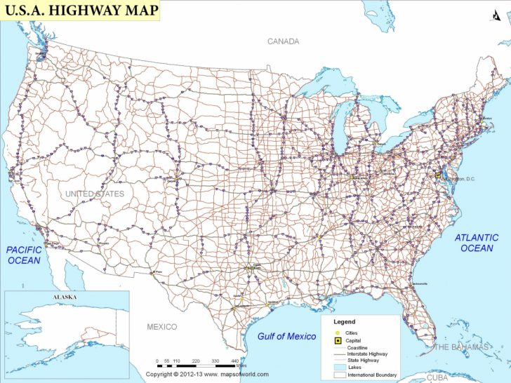 Printable Us Road Map