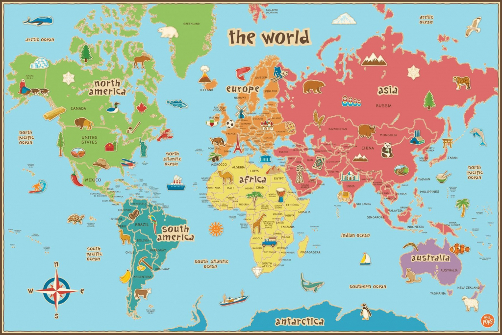 Free Printable World Map For Kids Maps And | Gary's Scattered Mind for Map Of The World For Kids With Countries Labeled Printable
