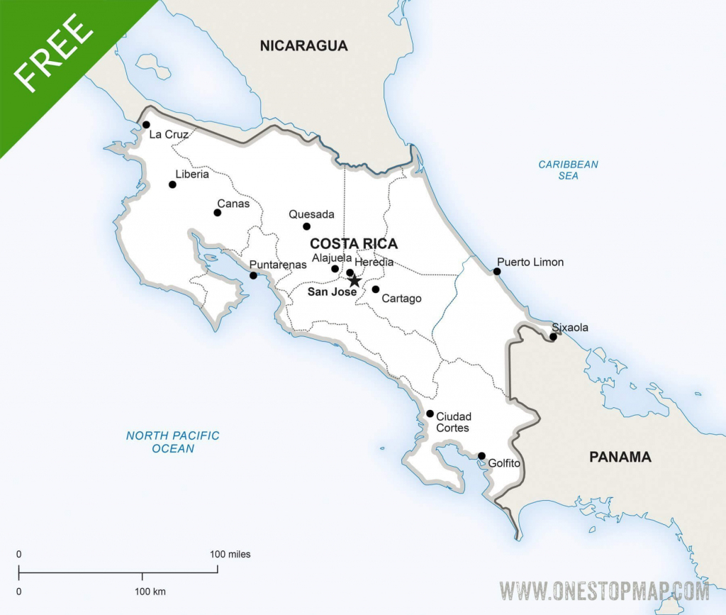 Free Vector Map Of Costa Rica Political | One Stop Map pertaining to Printable Map Of Costa Rica