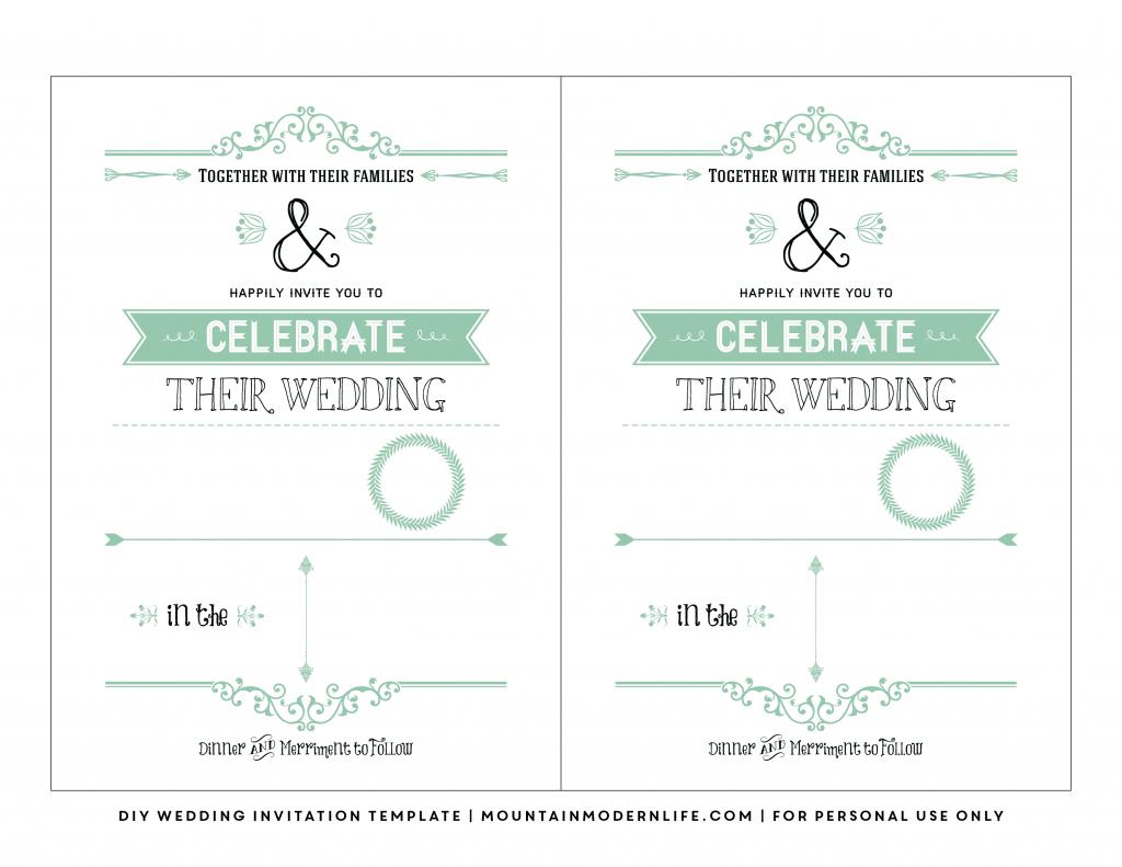 Free Wedding Invitation Template | Mountainmodernlife for Maps For Wedding Invitations Free Printable