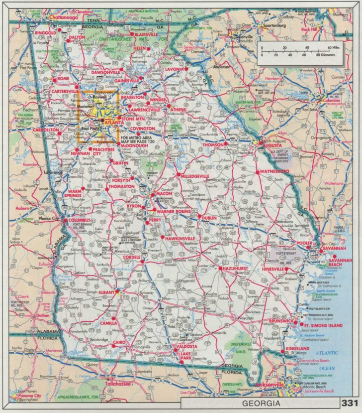 Georgia Road Map Printable