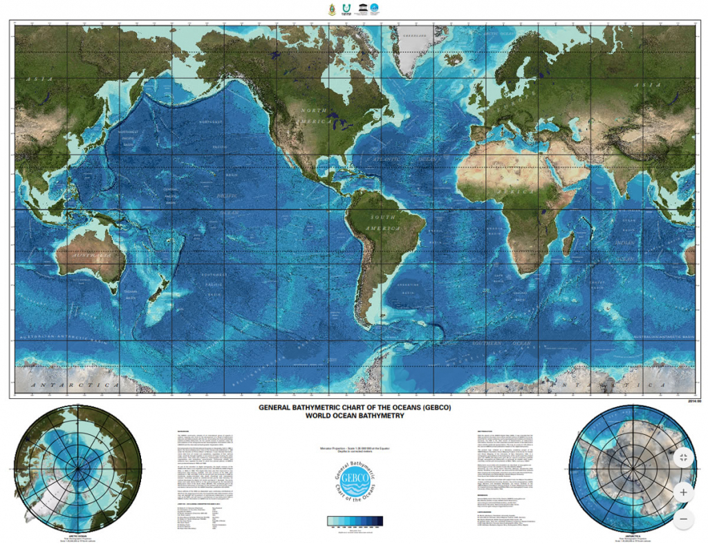 Gebco Printable Maps pertaining to World Ocean Map Printable