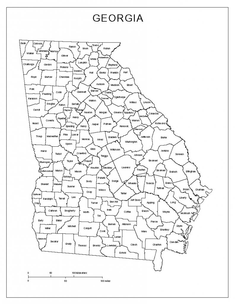 Georgia Labeled Map regarding Printable Map Of Georgia