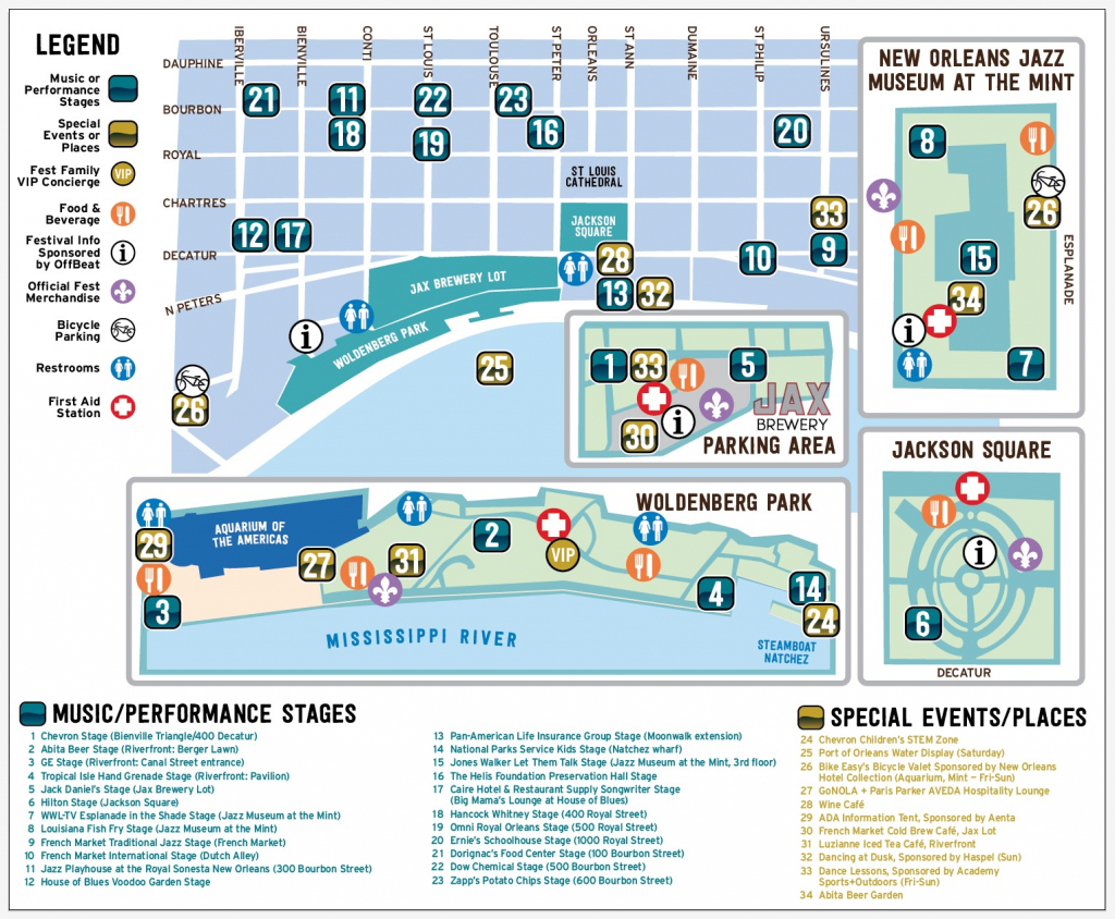 Get Around | French Quarter Fest inside Printable French Quarter Map