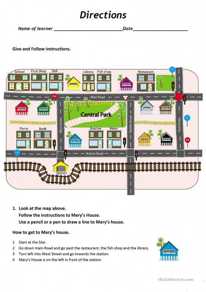 Give And Follow Directions On A Map Worksheet - Free Esl Printable regarding Free Printable Map Worksheets