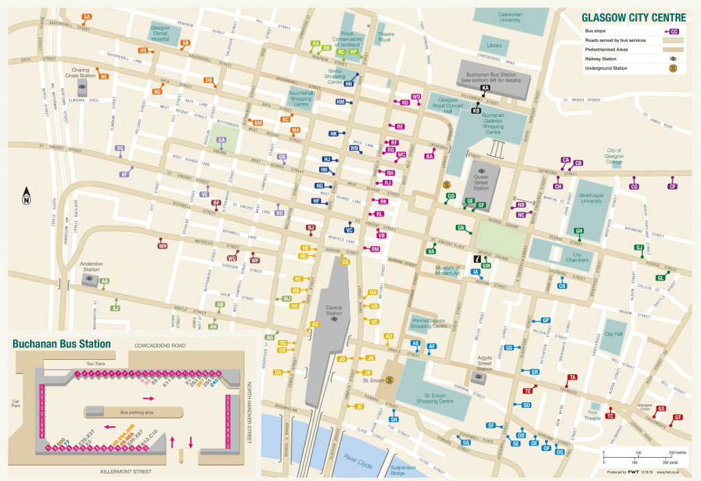 Glasgow City Center Map inside Glasgow City Map Printable
