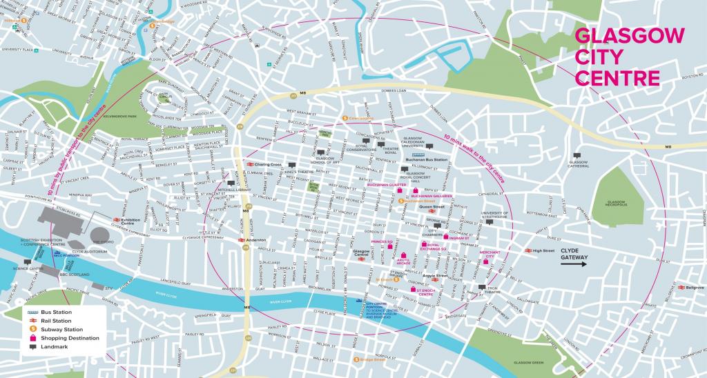 Glasgow Tourist Map for Glasgow City Map Printable