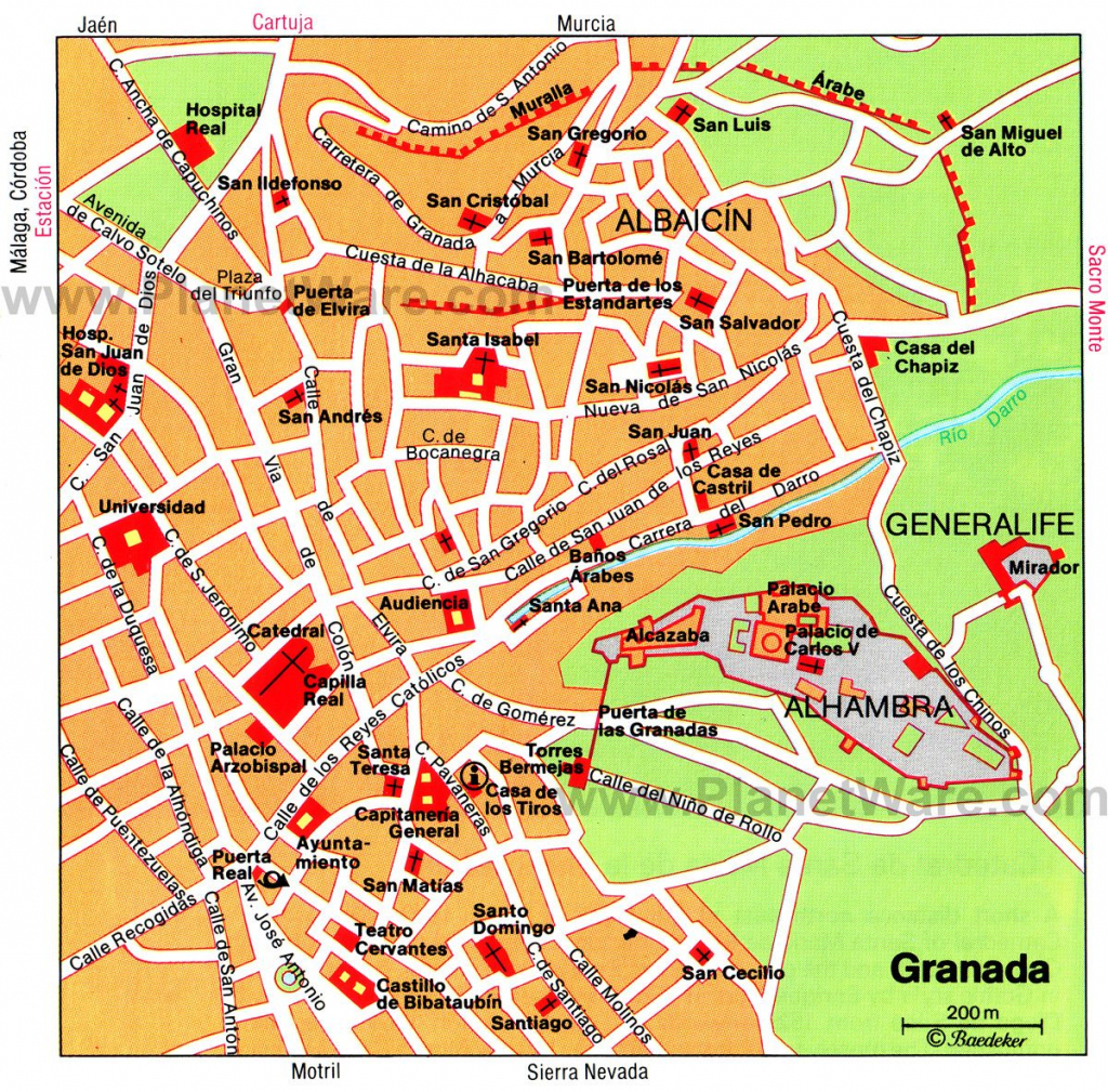 Granada Map - Tourist Attractions | Southern Spain In 2019 | Tourist intended for Printable Street Map Of Granada Spain
