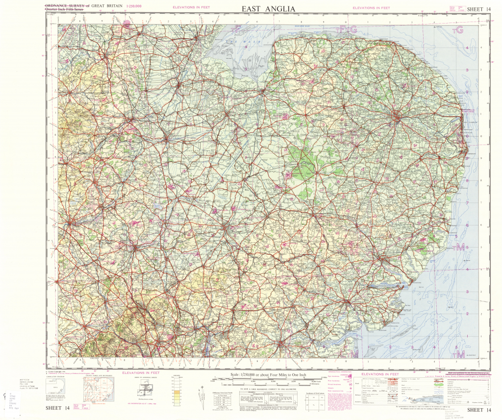 Great Britain Ams Topographic Maps - Perry-Castaã±Eda Map Collection intended for Printable Map Of East Anglia