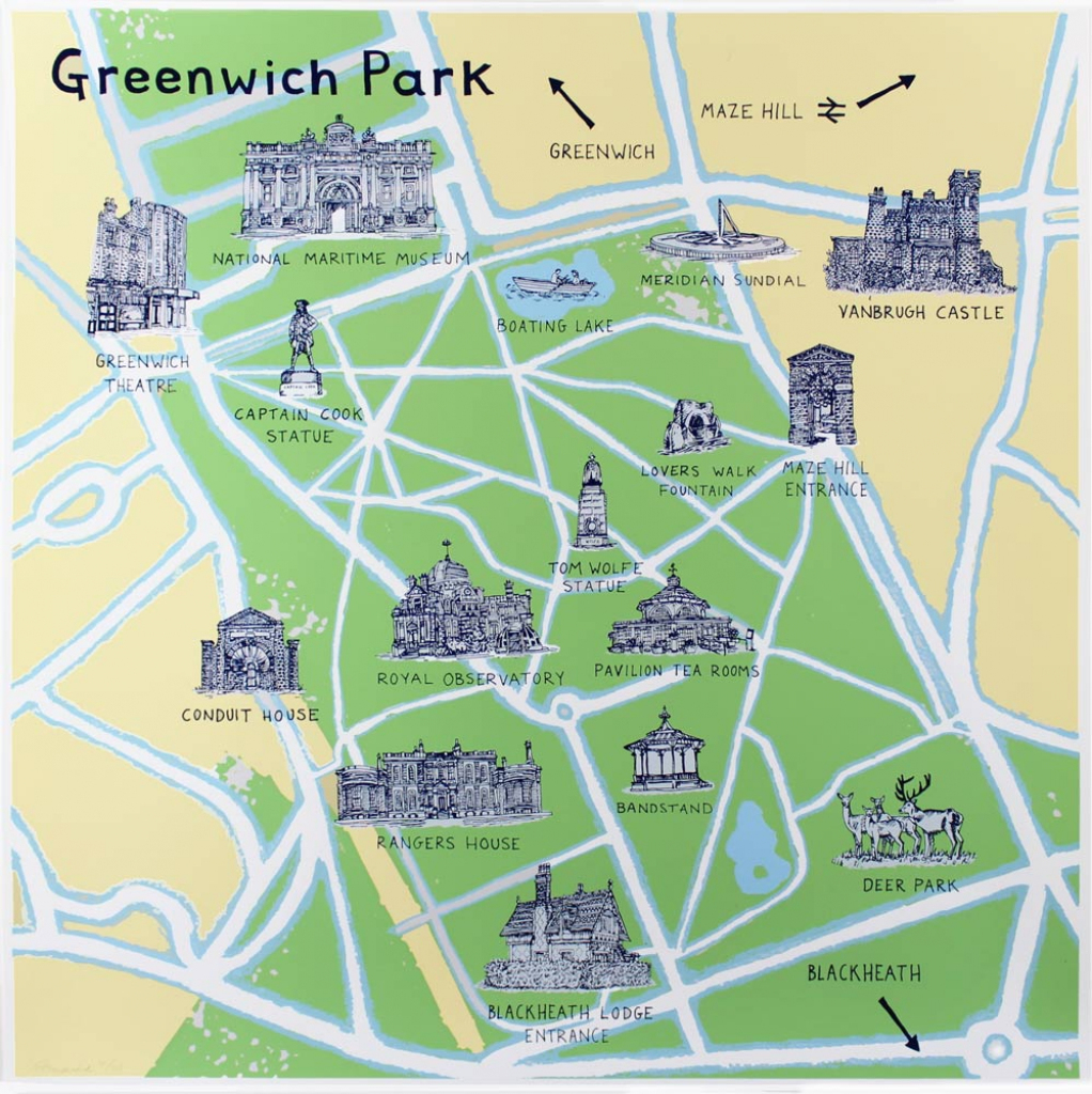 Greenwich Park Map | Print Club London for Printable Red Deer Map
