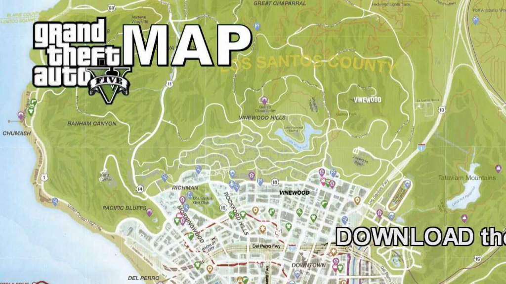 Gta 5 Full Size Game Map - Youtube throughout Gta 5 Printable Map