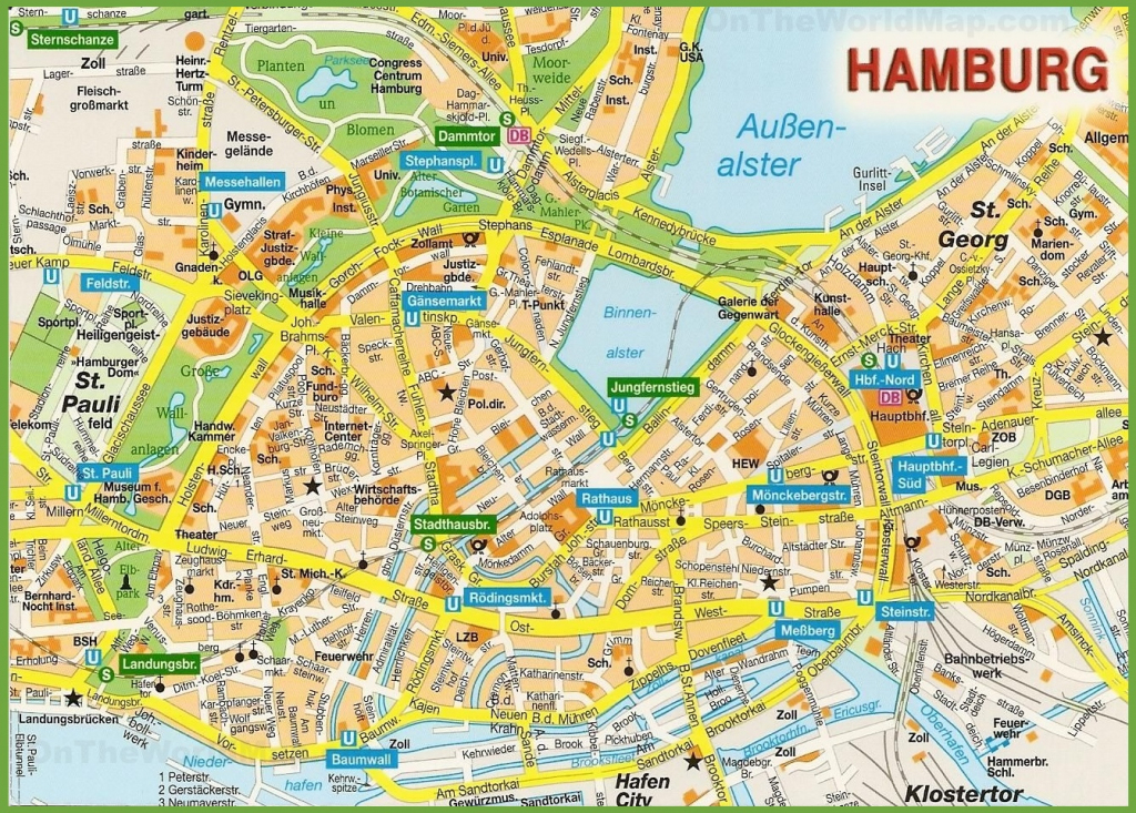 Hamburg City Centre Map regarding Printable Map Of Hamburg