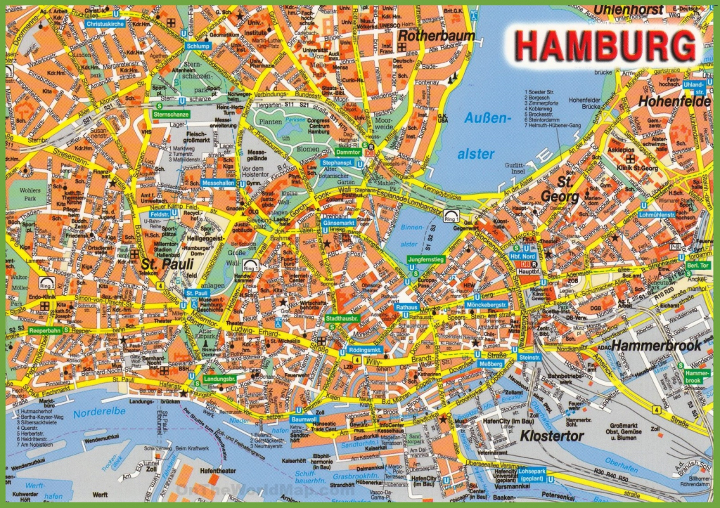 Hamburg Tourist Attractions Map intended for Printable Map Of Hamburg