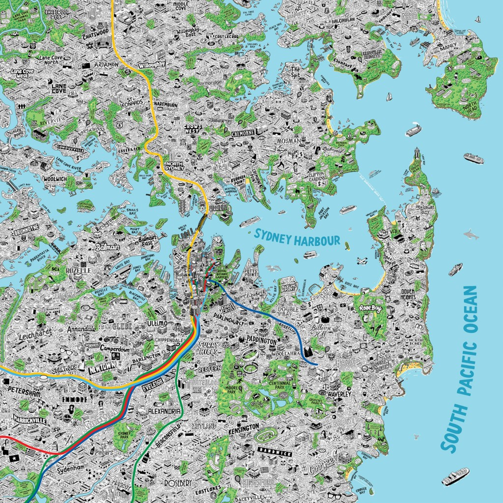 Hand Drawn Map Of Sydney Art Print | Art Prints, Stationery & Gifts regarding Printable Map Of Sydney