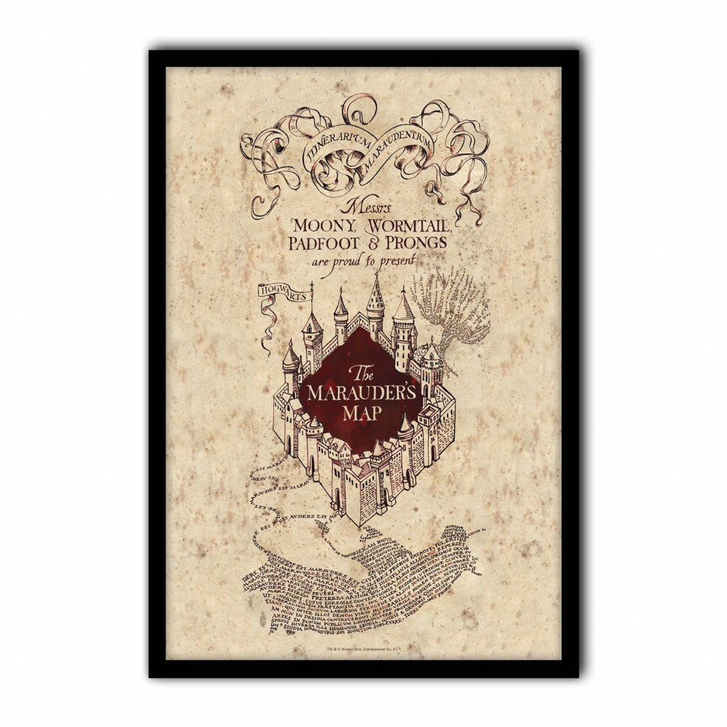 Harry Potter - The Marauder's Map - Poster Print Art, Licensed in The Marauders Map Printable