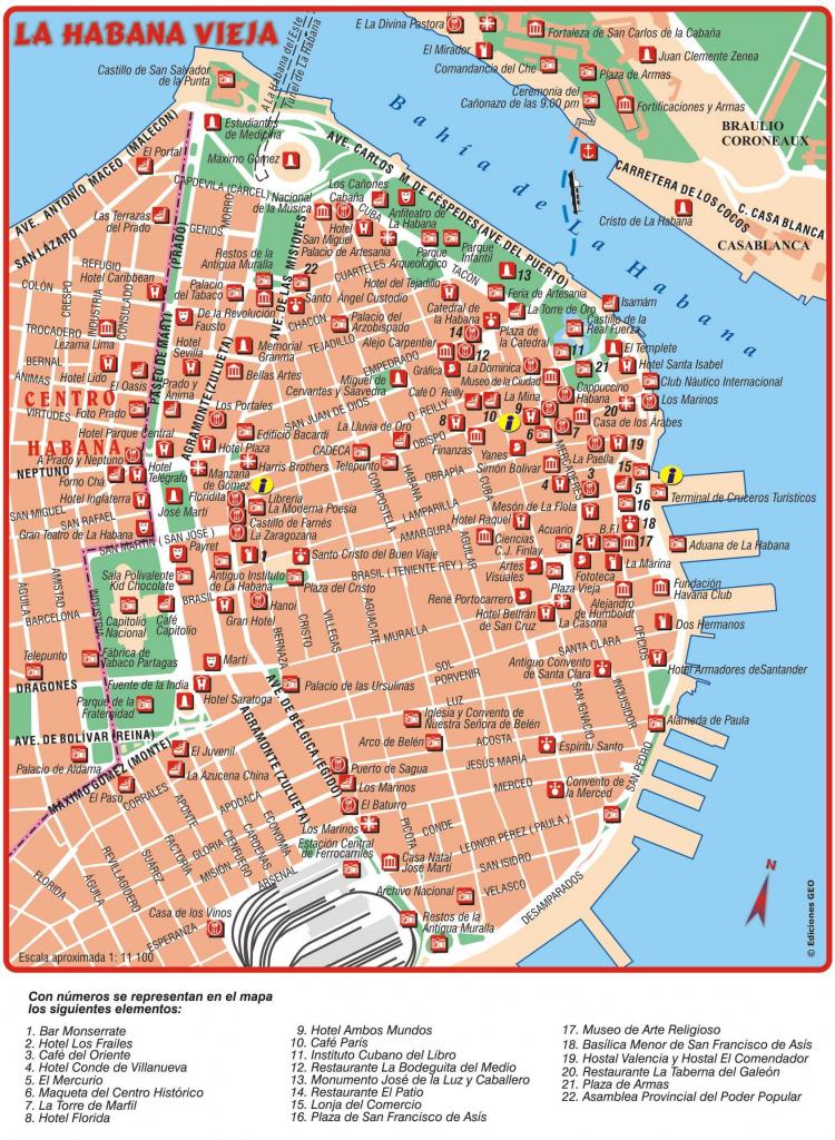Havana Old Town Map - Old Town Havana Map (Cuba) for Havana City Map Printable
