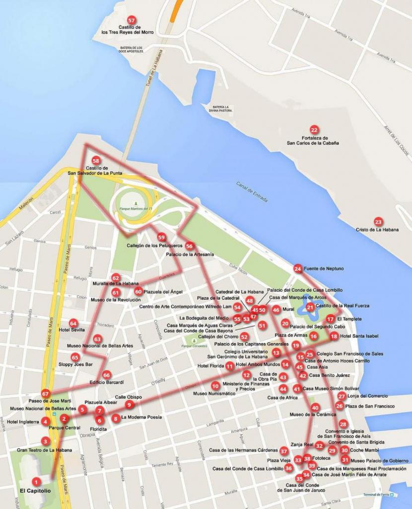 Havana Walking Map - Walking Map Of Havana (Cuba) in Havana City Map Printable