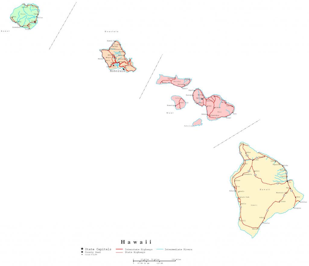 Hawaii Printable Map in Printable Map Of Hawaiian Islands