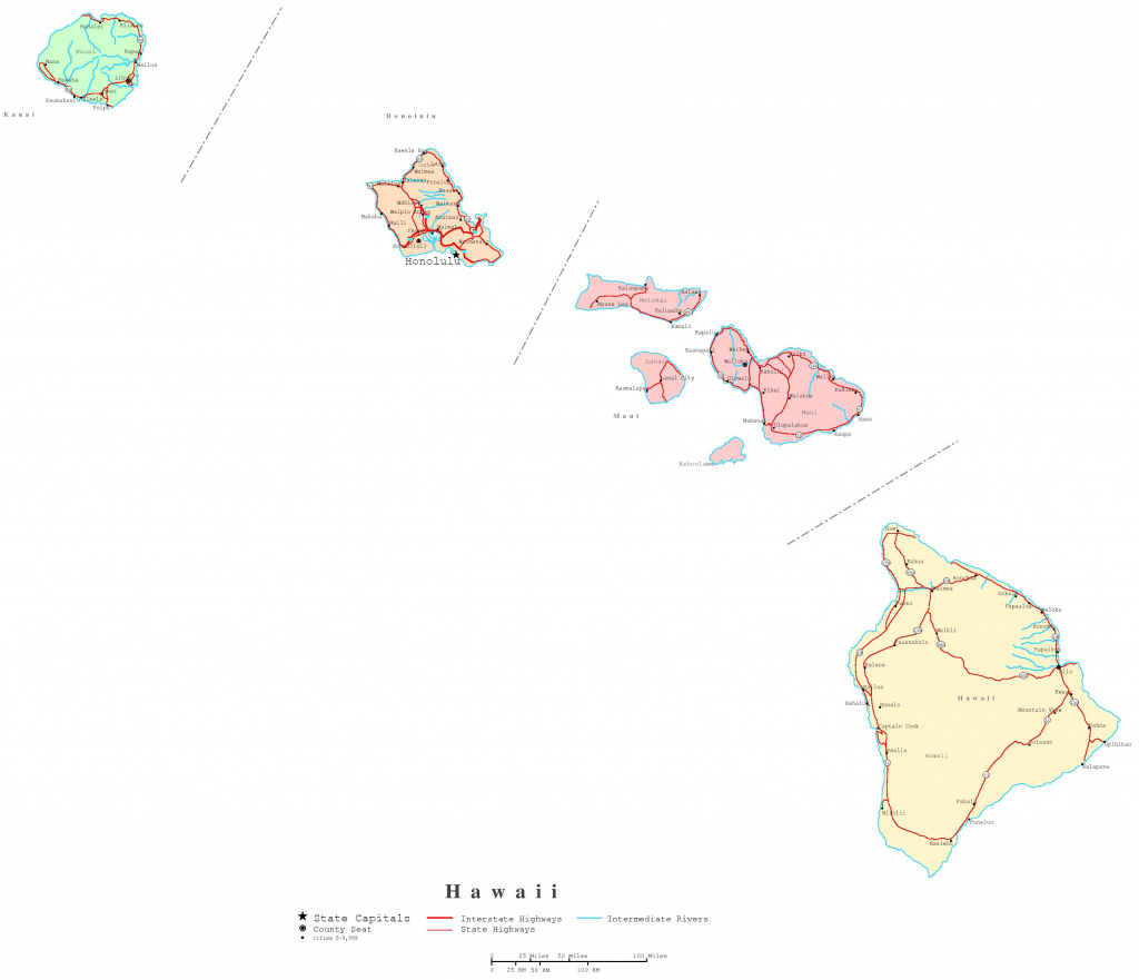 Hawaii Printable Map throughout Printable Map Of Hawaii