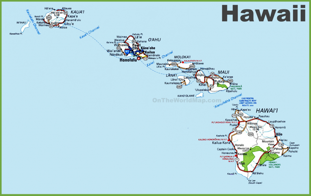 Hawaii Road Map with Printable Map Of Hawaii