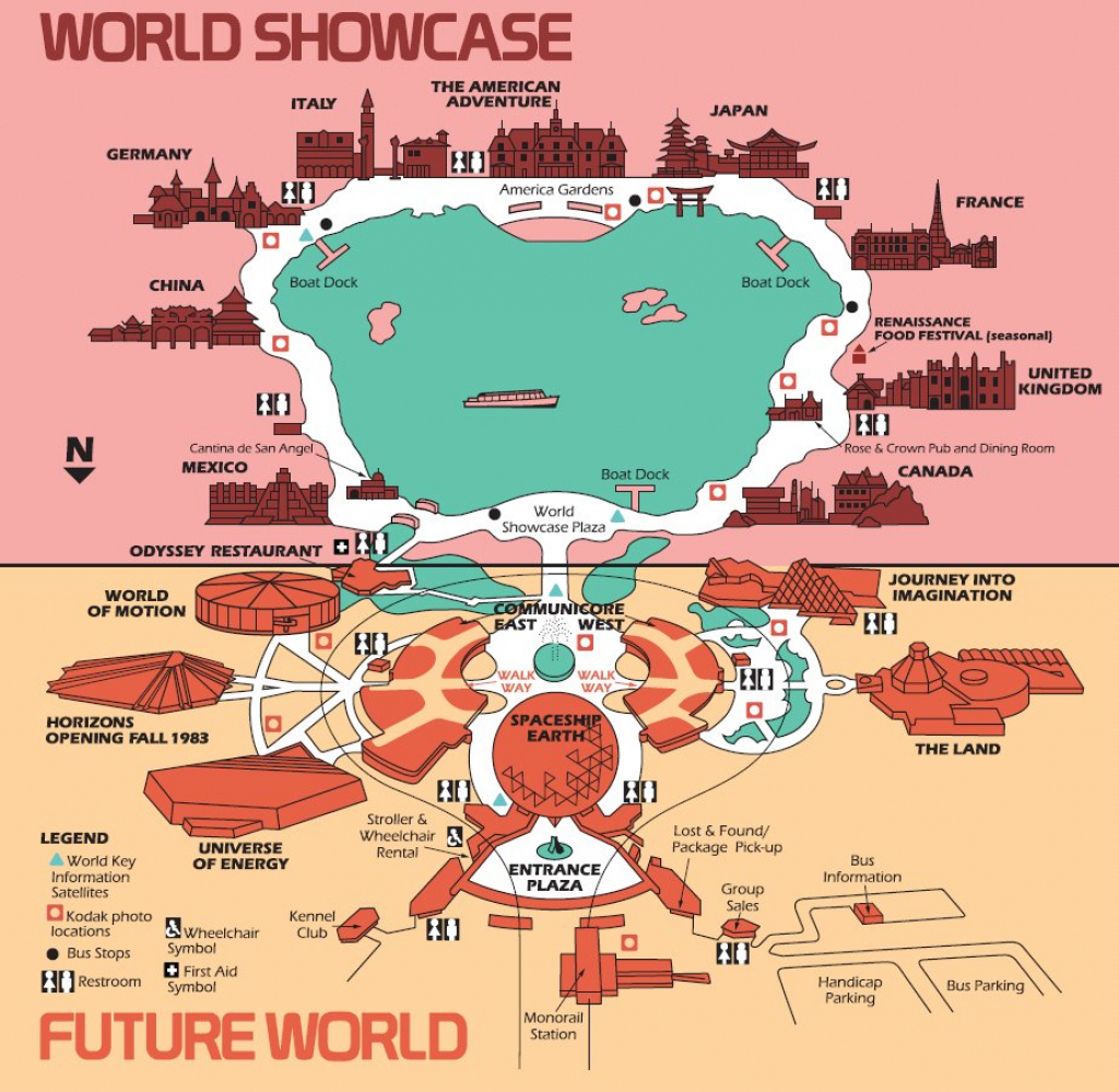 High Resolution 1982 Epcot Center Map - Free For Download/printing in Epcot Park Map Printable