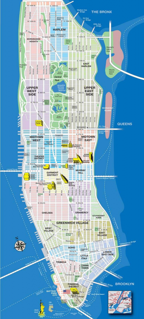 High-Resolution Map Of Manhattan For Print Or Download | Usa Travel in Printable Map Manhattan Pdf