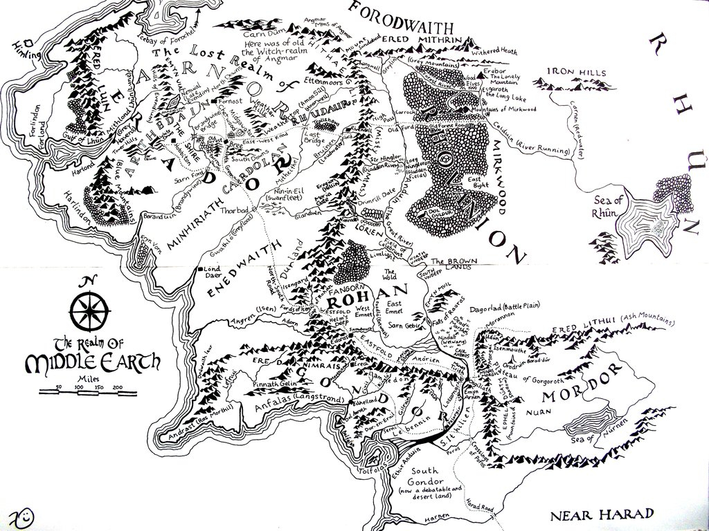 High Resolution Map Of Middle-Earth? : Lotr throughout Printable Hobbit Map