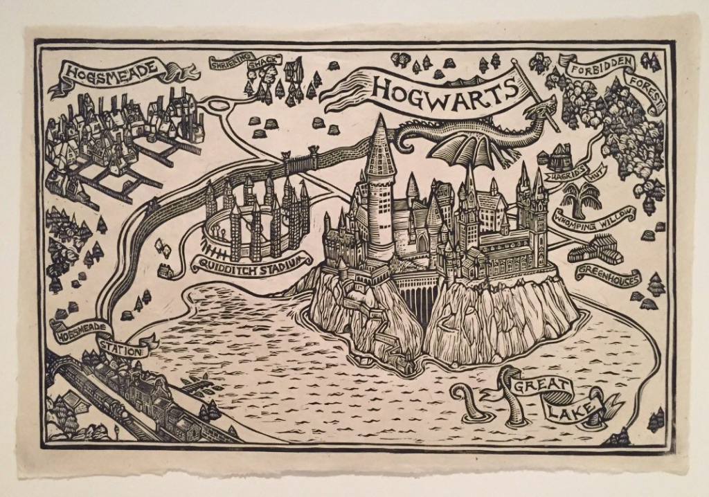 Hogwarts Map Block Print | Etsy throughout Hogwarts Map Printable