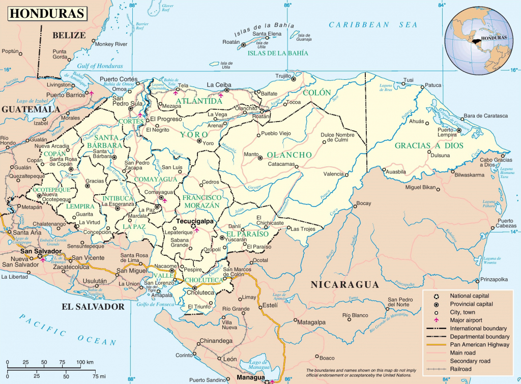 Honduras Political Map intended for Printable Map Of Honduras