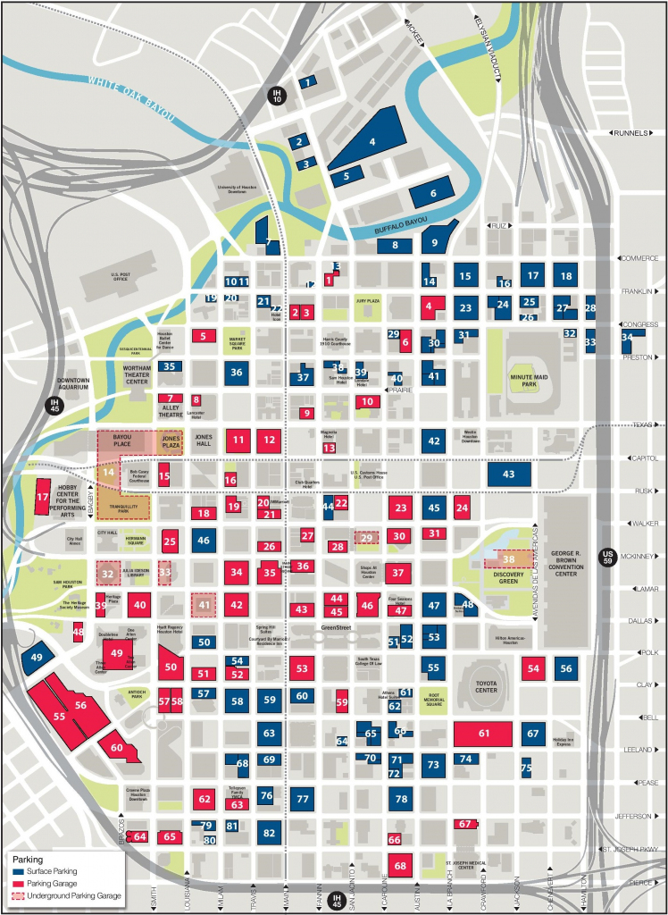 Houston Downtown Map Printable for Downtown Houston Map Printable