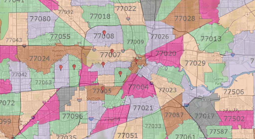 Houston Zip Code Maps   Ameritex Houston Movers throughout Houston Zip Code Map Printable