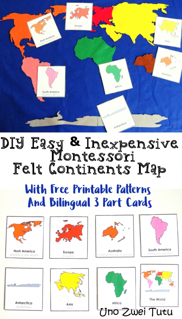 How To Make A Montessori Felt Continent Map With Free 3 Part Cards intended for Montessori World Map Free Printable