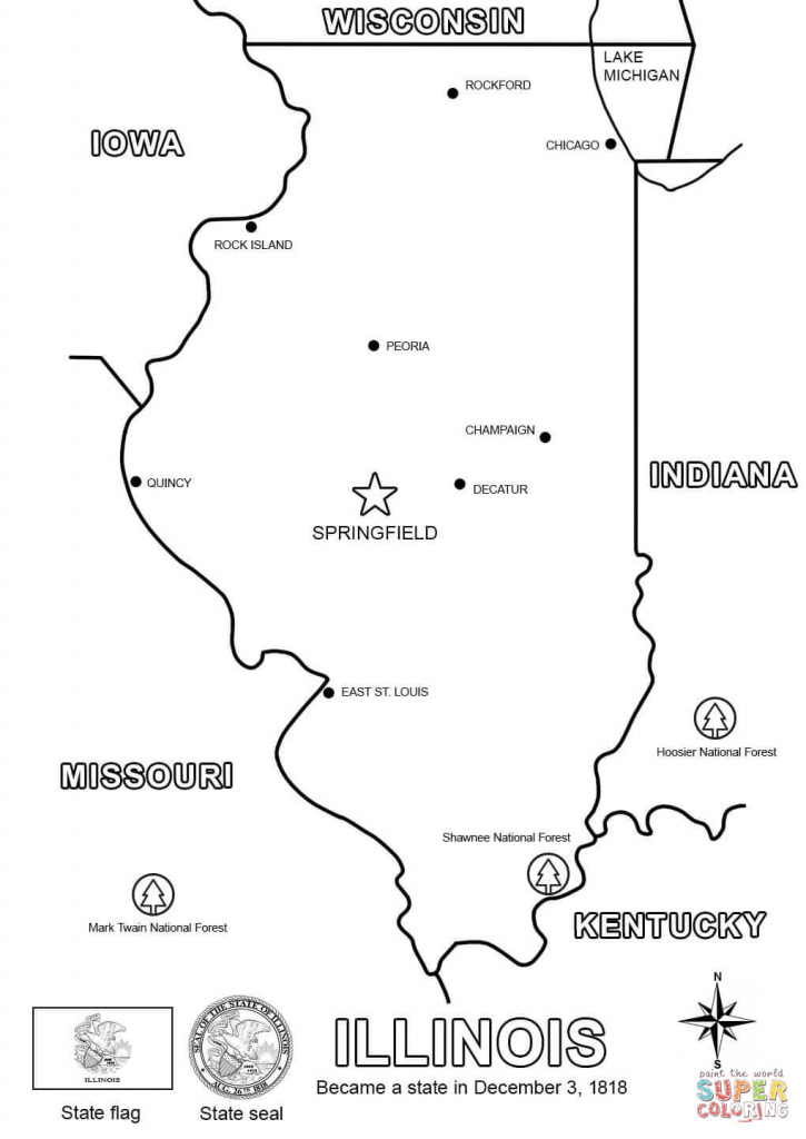 Illinois Map Coloring Page | Free Printable Coloring Pages regarding Illinois State Map Printable
