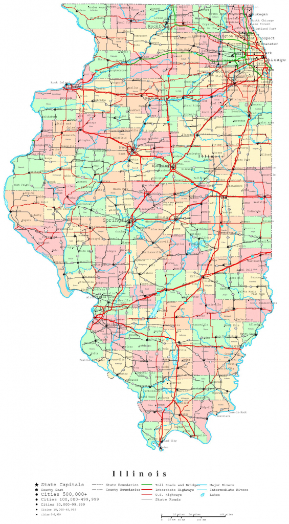 Illinois Printable Map inside Illinois County Map With Cities Printable
