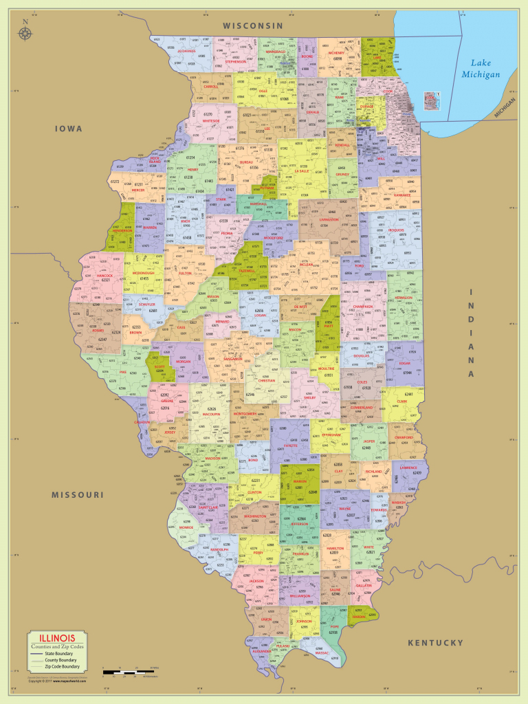 Illinois Zip Code Map With Counties (48″ W X 64″ H) | #worldmapstore in Illinois County Map With Cities Printable