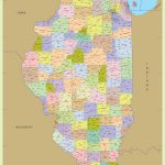 Illinois Zip Code Map With Counties (48″ W X 64″ H) | #worldmapstore Intended For Illinois County Map Printable