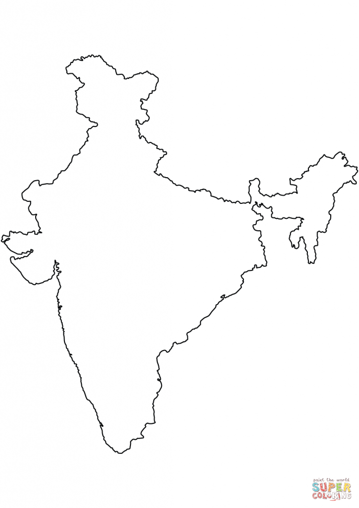 India Blank Outline Map Coloring Page | Free Printable Coloring Pages intended for Map Of India Blank Printable
