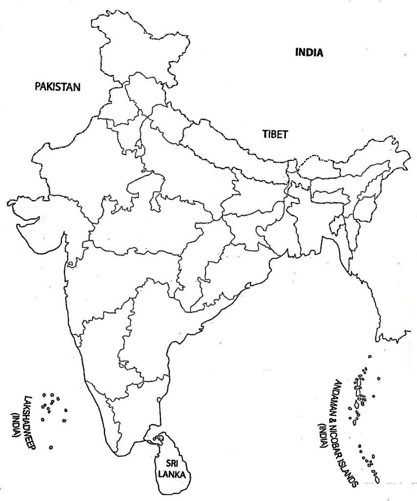 India Map Outline A4 Size | Map Of India With States | India Map for Physical Map Of India Outline Printable
