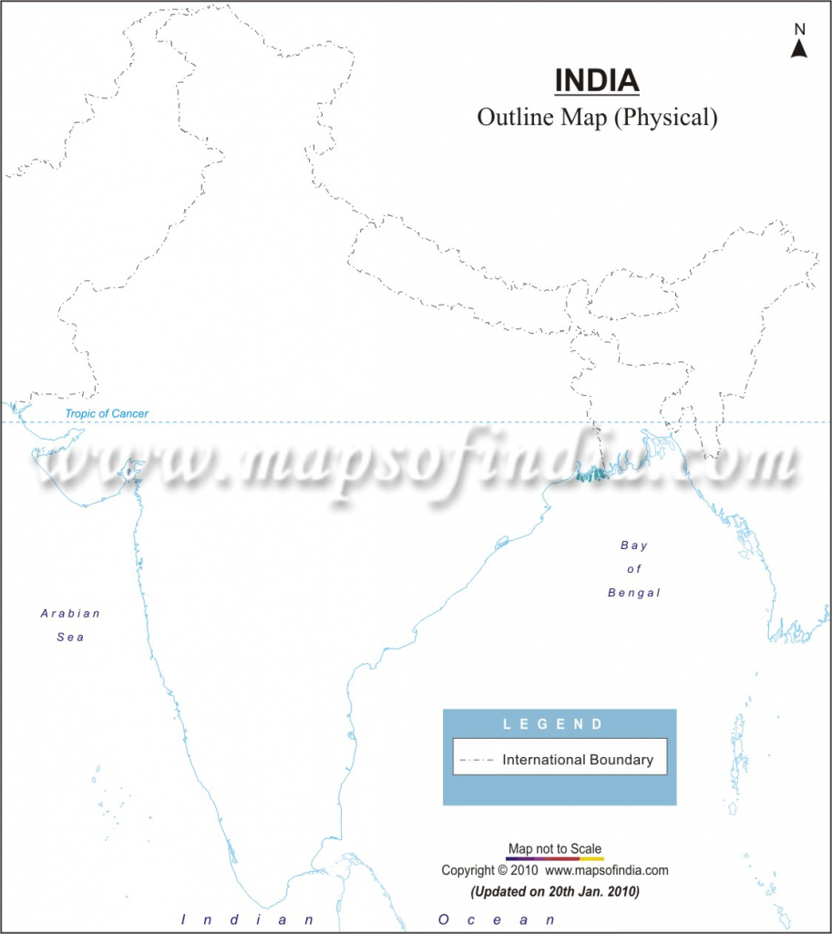 India Physical Map In A4 Size intended for Physical Map Of India Printable