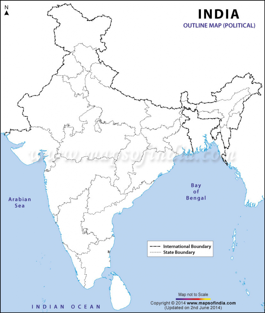 India Political Map In A4 Size inside Map Of India Outline Printable