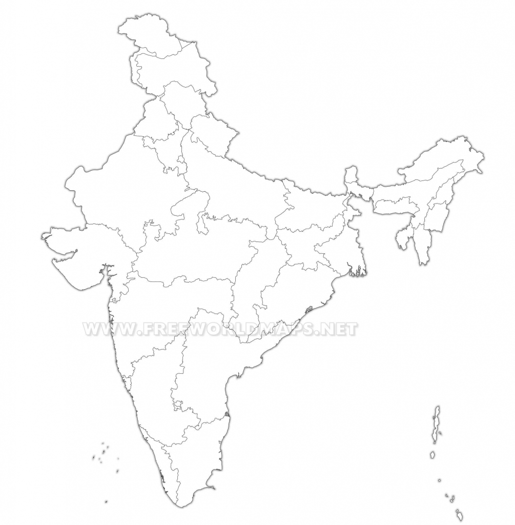 India Political Map with Political Outline Map Of India Printable