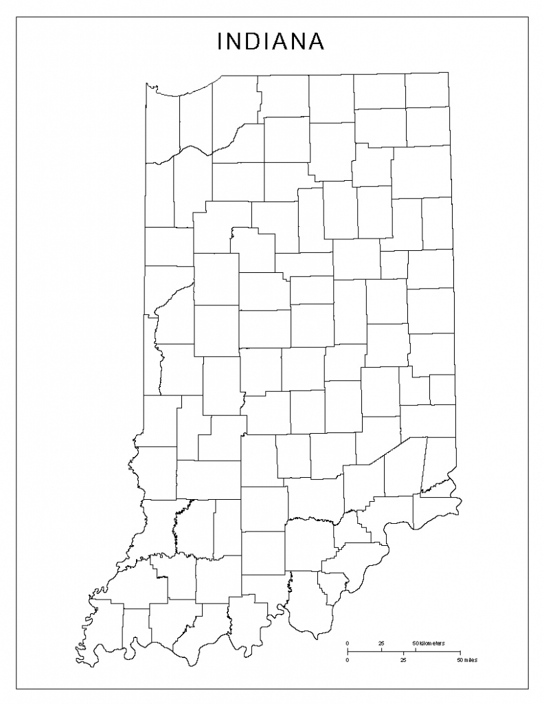 Indiana Blank Map in Indiana County Map Printable