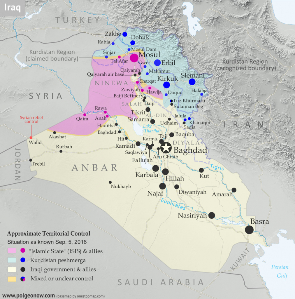 Iraq Control Map & Report: September 2016 - Political Geography Now throughout Printable Map Of Iraq