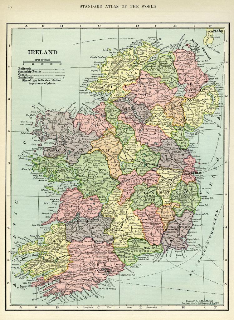Ireland Map, Vintage Map Download, Antique Map, C. S. Hammond regarding Printable Map Maker