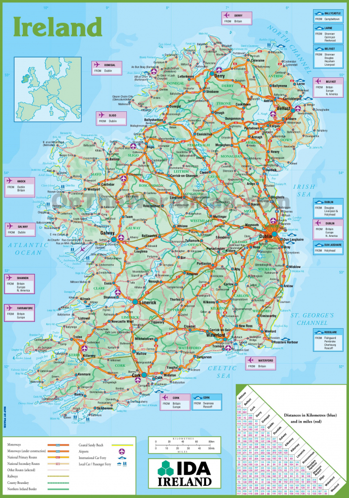Ireland Road Map within Printable Map Of Ireland