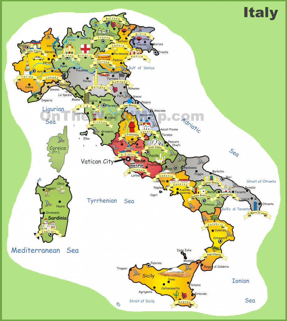 Italy Tourist Map regarding Printable Map Of Italy