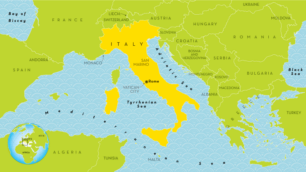 Italy with regard to Printable Map Of Italy For Kids